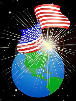 USA Flag On The Earth Royalty Free Stock Photo - Image: 18806945