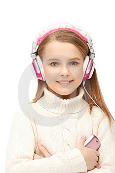 Attractive Girl Blue Eyes In Headphones Royalty Free Stock Images - Image: 18807099