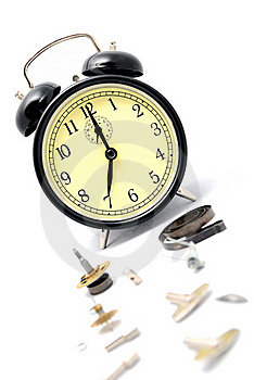 Broken Alarm Clock. Isolate On White. Royalty Free Stock Image - Image: 18812166