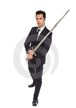 Businessman With Long Sword Royalty Free Stock Image - Image: 18814016