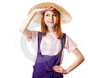 Young Girl In Overalls. Royalty Free Stock Photos - Image: 18814298