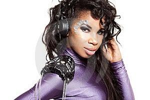 Mulatto Girl DJ Listens Music Stock Photos - Image: 18815113
