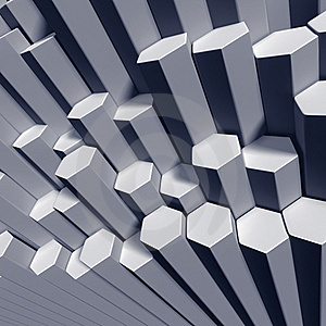 Hexagonal Tubes High Angle View Of Pattern Royalty Free Stock Photos - Image: 18822348