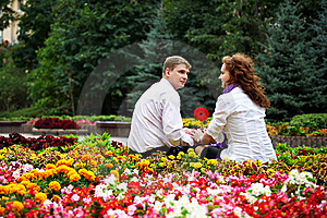 Romantic Date In The Flower Park Stock Photography - Image: 18822352