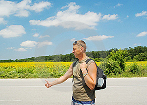 Man Stops A Cars Royalty Free Stock Photography - Image: 18824777
