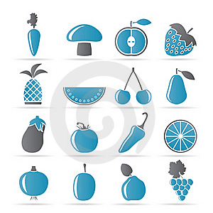 Different Kinds Of Fruits And Vegetable Icons Royalty Free Stock Image - Image: 18825706