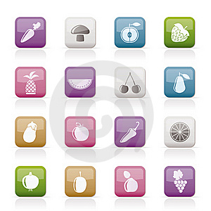 Different Kinds Of Fruits And Vegetable Icons Royalty Free Stock Photography - Image: 18825727