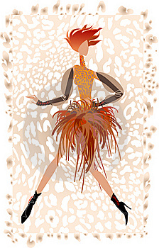 A Girl In A Skirt Of Feathers Royalty Free Stock Photography - Image: 18830437