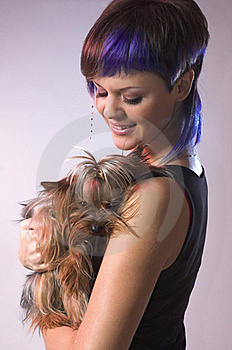 The  Girl And Small Dog Royalty Free Stock Image - Image: 18831126