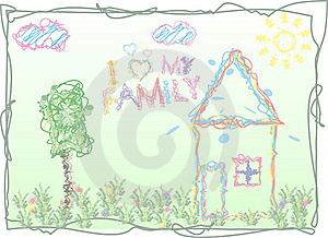 The Stylized Lovely Children's Drawing Stock Photos - Image: 18835913