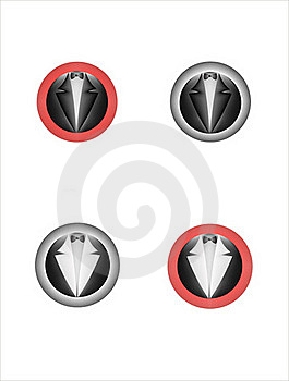 Button_Tailcoat And Bow Tie Royalty Free Stock Photography - Image: 18844177
