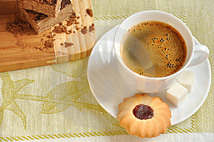 Morning Coffee With Biscuits And Cake Royalty Free Stock Image - Image: 18852546