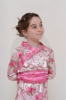 Cute Smiling Girl In Japanese Masquerade Costume Royalty Free Stock Photo - Image: 18855675