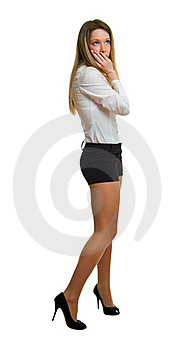 Girl In A White Shirt And Black Shorts Royalty Free Stock Photography - Image: 18860667