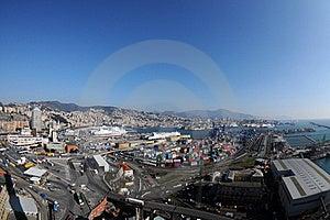 Genoa Aerial View, Fish-eye Stock Photo - Image: 18863230