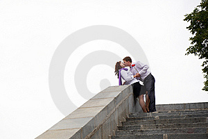 Romantic Kiss On The Stone Stairs Stock Images - Image: 18863904