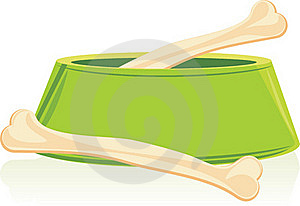 Bones In A Green Doggy Bowl Stock Photography - Image: 18864302