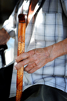 Senior Hand On Cane Royalty Free Stock Photo - Image: 18864505