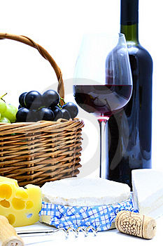 Cheese, Wine, Grapes Royalty Free Stock Photos - Image: 18872168