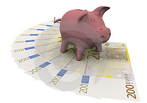 Piggy Bank Is On The Euro Royalty Free Stock Photography - Image: 18876107