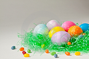 Brightly Decorated Easter Eggs And Jelly Beans Stock Photography - Image: 18876832