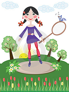 Active Girl,tennis Royalty Free Stock Image - Image: 18877736