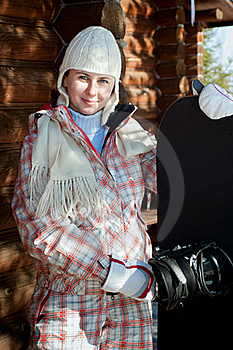 Smiling Teenage Girl Holding Snowboard Stock Photography - Image: 18881112