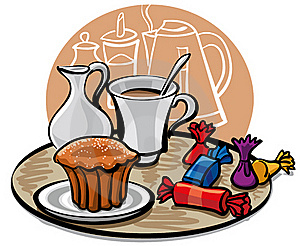 Cupcake, Candy And Coffee With Milk Royalty Free Stock Photos - Image: 18882078