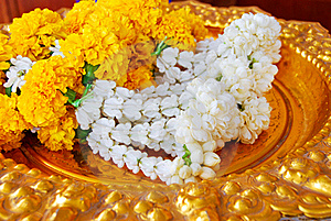 Jasmine Garland On Gold Plate Royalty Free Stock Image - Image: 18893706