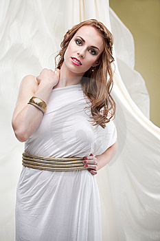 Woman In Greek Inspired White Dress, Smiling Royalty Free Stock Image - Image: 18895696