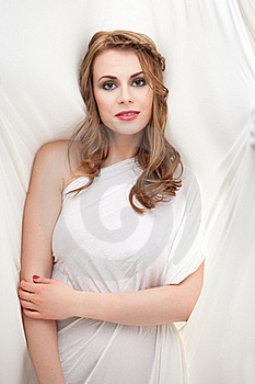 Woman In Greek Inspired White Dress, Smiling Stock Photo - Image: 18895710
