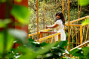 Romantic Getaway - Attractive Woman On Bridge Royalty Free Stock Images - Image: 18898269