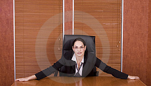 Business woman holding table Royalty Free Stock Photos