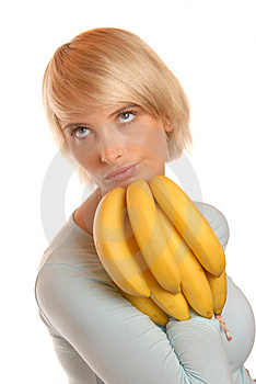 Attractive Blonde With A Banana Stock Images - Image: 1899794