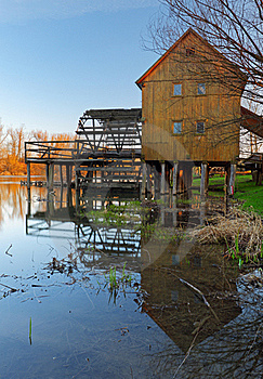 Historic Wooden Watermill With Reflection. Stock Photography - Image: 18901112