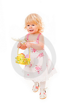 Little Girl With Easter Eggs Stock Images - Image: 18901394