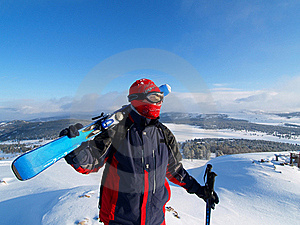 Skier Looks On A Mountain Stock Photography - Image: 18904922