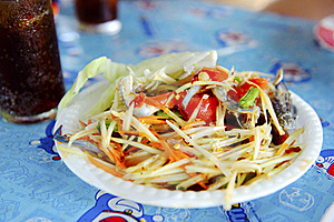 Thai Cuisine - Hot And Spicy Papaya Salad Royalty Free Stock Photo - Image: 18905615
