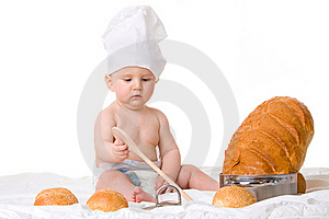 Little Boy Chef With Spoon Stock Image - Image: 18906771