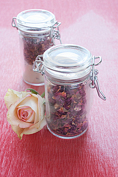Dried Rose Petals In A Jar Stock Photo - Image: 18907620
