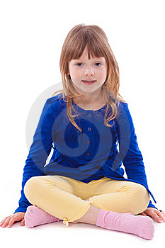 Blonde Smiling Little Girl Sitting Royalty Free Stock Photo - Image: 18911805