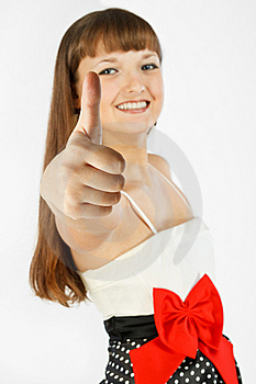 Beautiful Fashion Girl Showing Thumb Up Stock Images - Image: 18913714