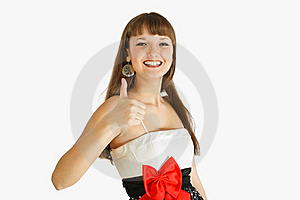 Beautiful Fashion Girl Showing Thumb Up Royalty Free Stock Photos - Image: 18913718