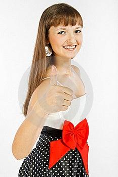 Beautiful Fashion Girl Showing Thumb Up Stock Photo - Image: 18913720
