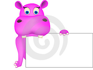 Cute Hippo And Blank Sign Royalty Free Stock Images - Image: 18913849
