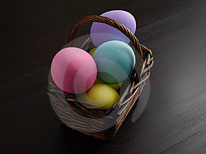 Easter Eggs In Brown Basket Royalty Free Stock Photography - Image: 18914537