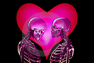 Skeletons With Love Heart Royalty Free Stock Photos - Image: 18915248