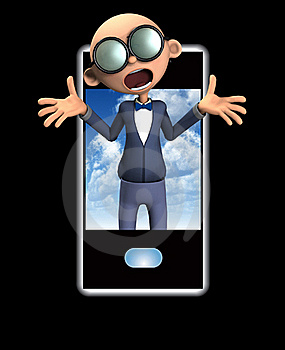 Nerd And Mobile Phone Stock Photo - Image: 18915780