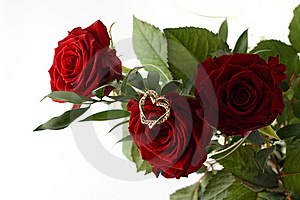 Rose Bouquet And Gold Heart On White Background. Royalty Free Stock Photography - Image: 18916817