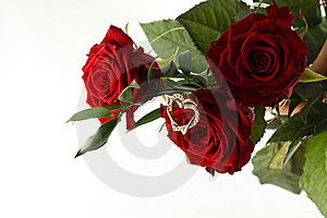 Rose Bouquet And Gold Heart On White Background. Royalty Free Stock Images - Image: 18916819